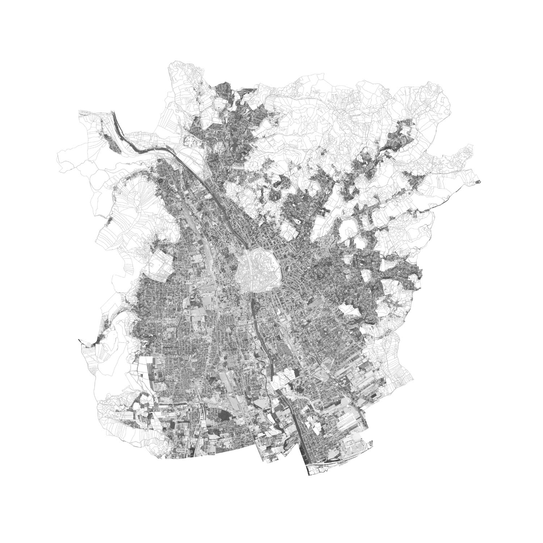 Plan mit Löschung des historisches Zentrum von Graz