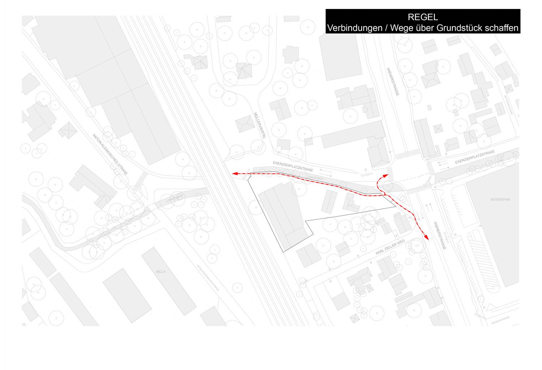 Plan / Diagramm mit fußläufigen Verbindungen in der Umgebung über das Grundstück Exerzierplatzstraße