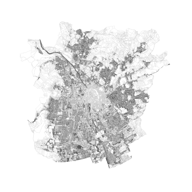 Plan mit Löschungen der mehrgeschossigen dichten Wohnbebauungen von Graz