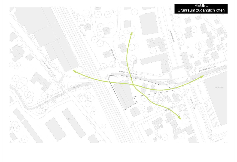 Plan / Diagramm mit Grünraum-Verbindungen in der Umgebung über das Grundstück Exerzierplatzstraße