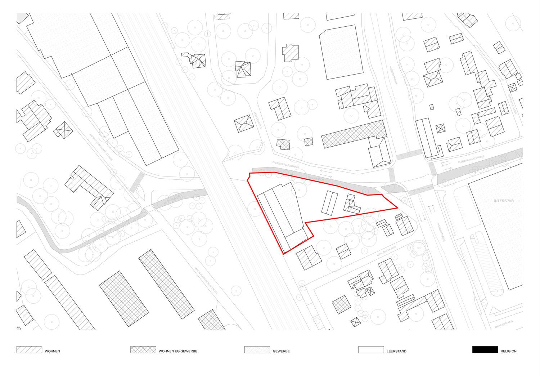 Plan mit Nutzungen in der Umgebung des Grundstücks Exerzierplatzstraße