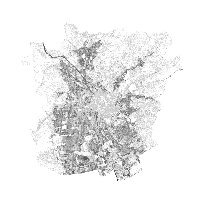 Plan mit Löschung der Villenbebauung von Graz
