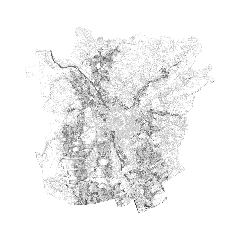 Plan mit Löschung der größeren Bauprojekte und Wettbewerbsgebiete von Graz