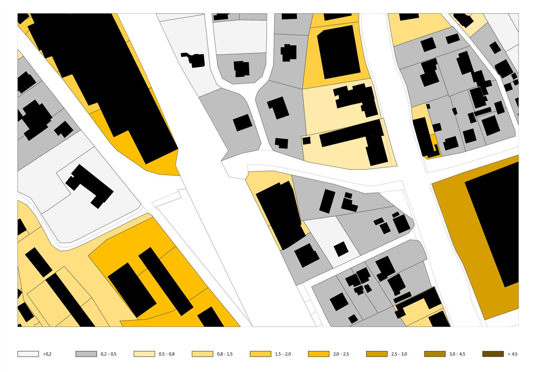 Plan mit Bestandsdichte in der Umgebung des Grundstückes