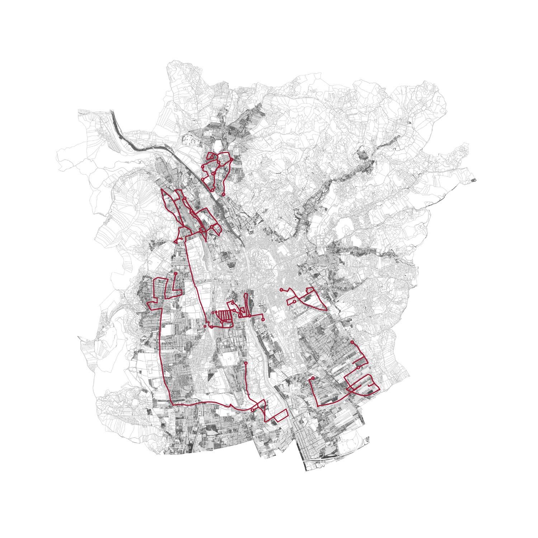 Stadtplan Graz mit Route