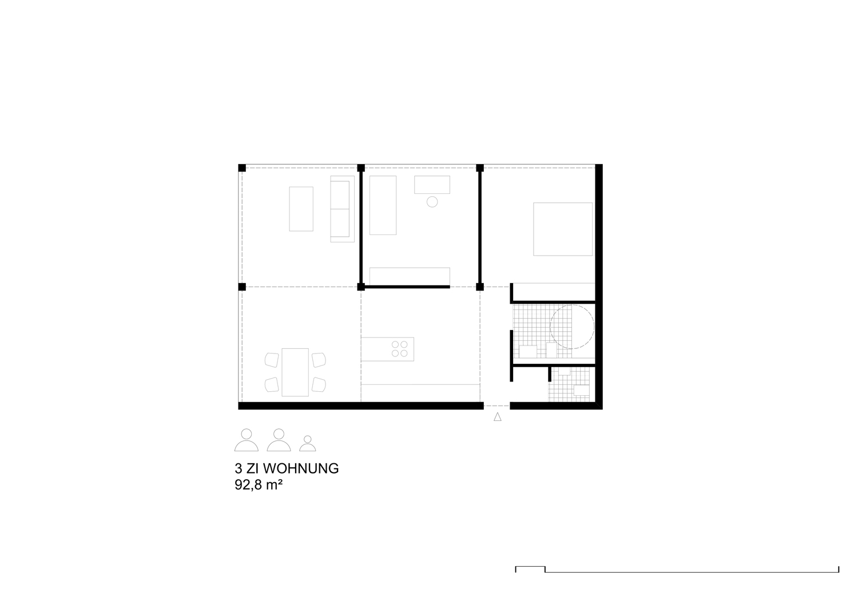 Grundriss Wohnung mit 6 Modulen