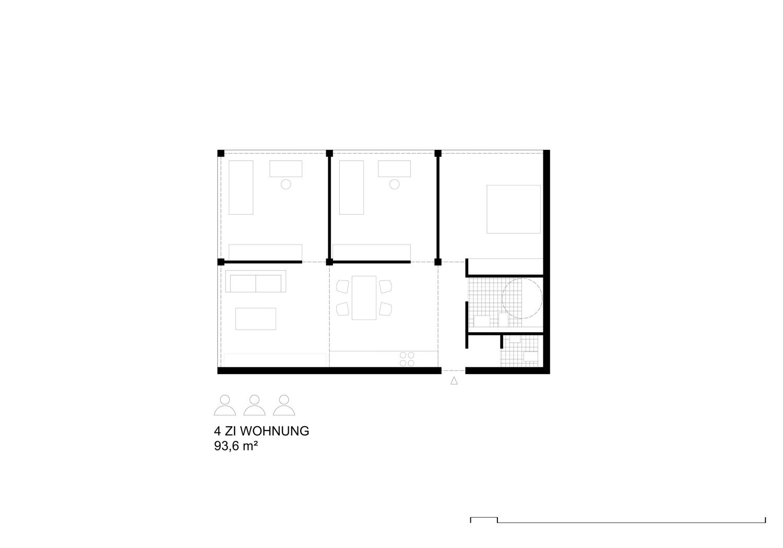 Grundriss Wohnung mit 4 Modulen