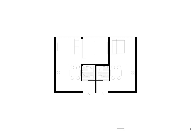 Grundriss 2 Wohnung innerhalb von 6 Modulen