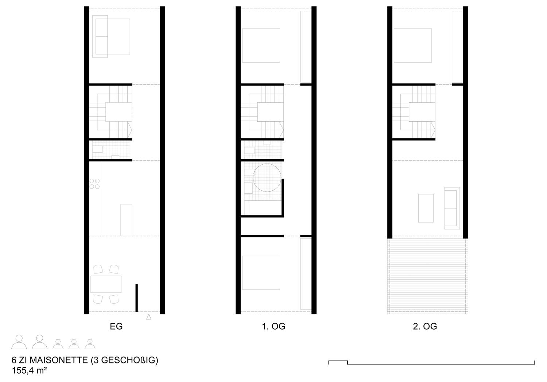 Grundriss Maisonettewohnung auf 4 Modulen über 3 Geschosse