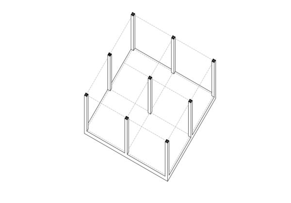 Axonometrie Wohnung 4 Module Konstruktionsrahmen