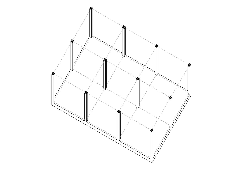 Axonometrie Wohnung 6 Module Konstruktionsrahmen