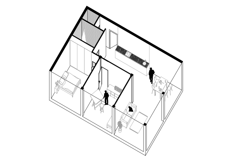 Axonometrie Wohnung 6 Module möbliert