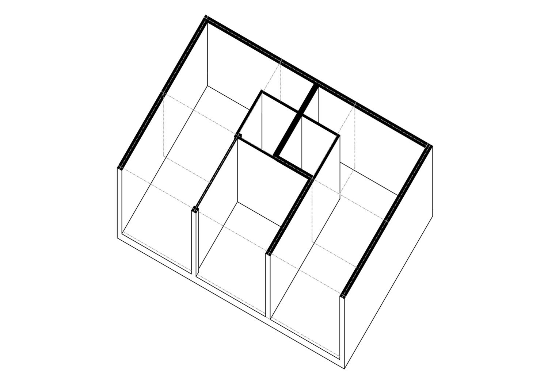 Axonometrie 2 Wohnung innerhalb 6 Module