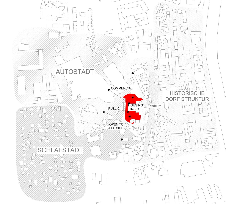 Plan mit Umgebung Grundstück Fabrikgasse Einfahrt Citypark mit städtebaulicher Analyse und Nutzungsidee