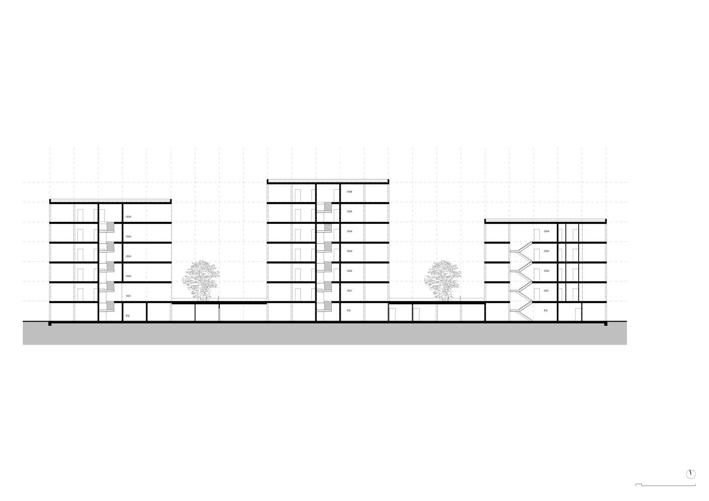 Plan mit Entwurf 1 Fabrikgasse - dargestellt ist ein Längsschnitt