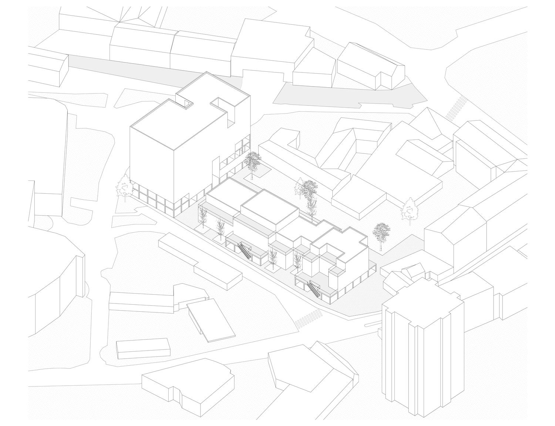 Plan mit Entwurf 2 Fabrikgasse - dargestellt ist ein Axonometrie
