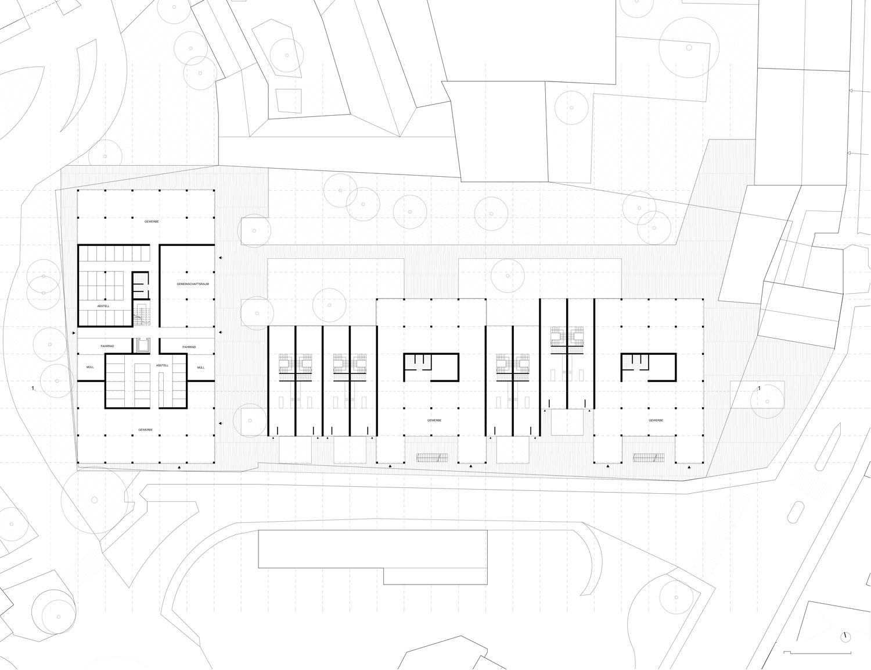 Plan mit Entwurf 2 Fabrikgasse - dargestellt ist Erdgeschoß