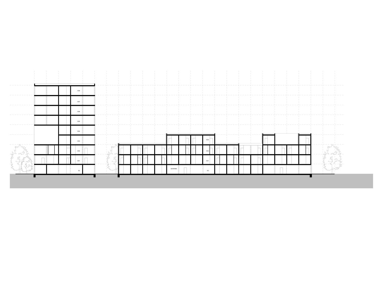 Plan mit Entwurf 2 Fabrikgasse - dargestellt ist ein Längsschnitt