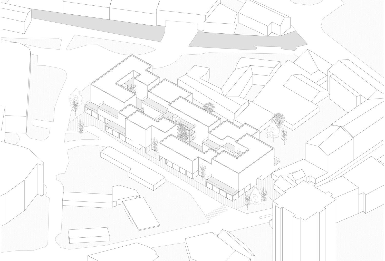Plan mit Entwurf 3 Fabrikgasse - dargestellt ist eine Axonometrie