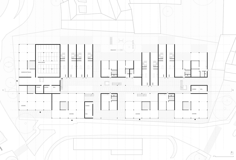 Plan mit Entwurf 3 Fabrikgasse - dargestellt ist das Erdgeschoß
