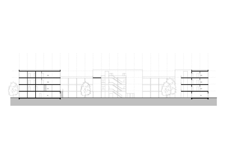 Plan mit Entwurf 3 Fabrikgasse - dargestellt ist ein Längsschnitt