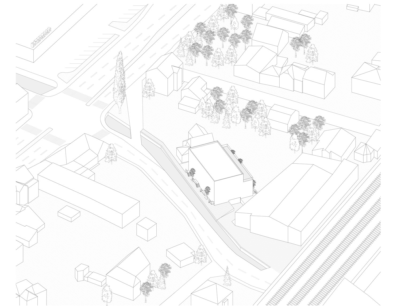 Plan mit Entwurf 4 Exerzierplatzstraße - dargestellt ist eine Axonometrie