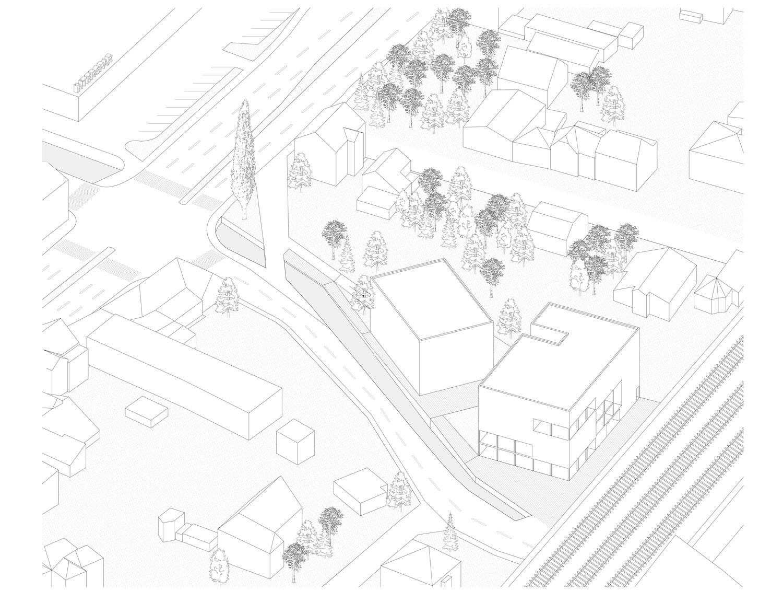 Plan mit Entwurf 5 Exerzierplatzstraße - dargestellt ist eine Axonometrie