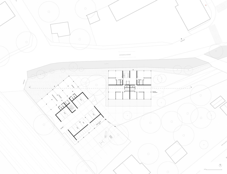 Plan mit Entwurf 5 Exerzierplatzstraße - dargestellt ist das Erdgeschoß