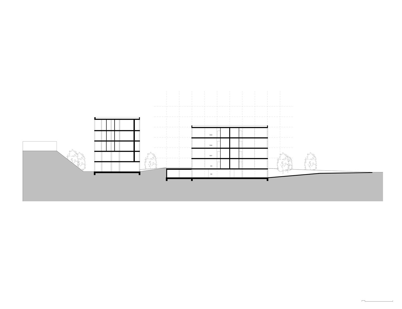 Plan mit Entwurf 5 Exerzierplatzstraße - dargestellt ist ein Schnitt