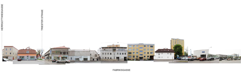 Fotocollage mit Abwicklung Ansicht Fabriksgasse Südseite
