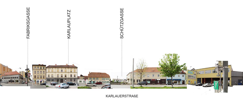 Fotocollage mit Abwicklung Ansicht Karlauerstrasse Westseite