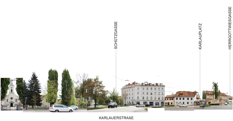 Fotocollage mit Abwicklung Ansicht Karlauerstrasse Ostseite