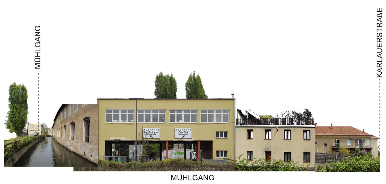 Fotocollage mit Abwicklung Ansicht Mühlgang Nordseite