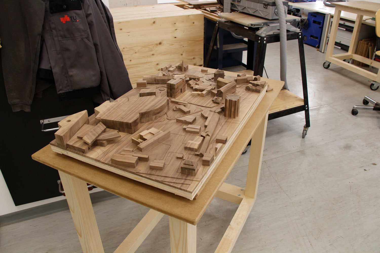 Foto vom unfertigen Modell Grundstück Fabrikgasse