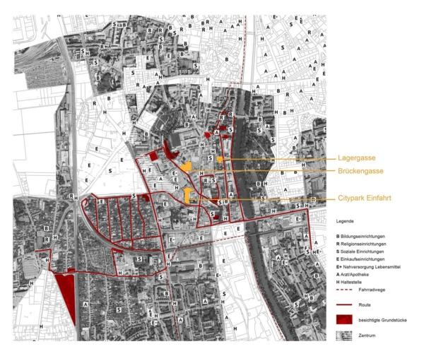 Plan mit Route und Grundstücksauswahl durch Gries und Lend