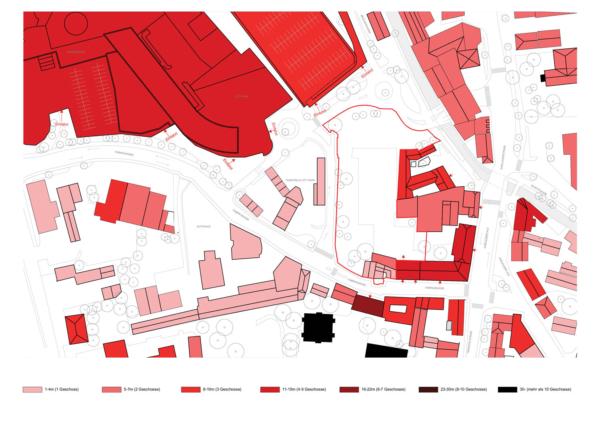 Plan mit Höhenentwicklung Gebäude