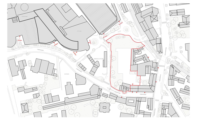 Lageplan Grundstück Fabrikgasse Einfahrt Citypark
