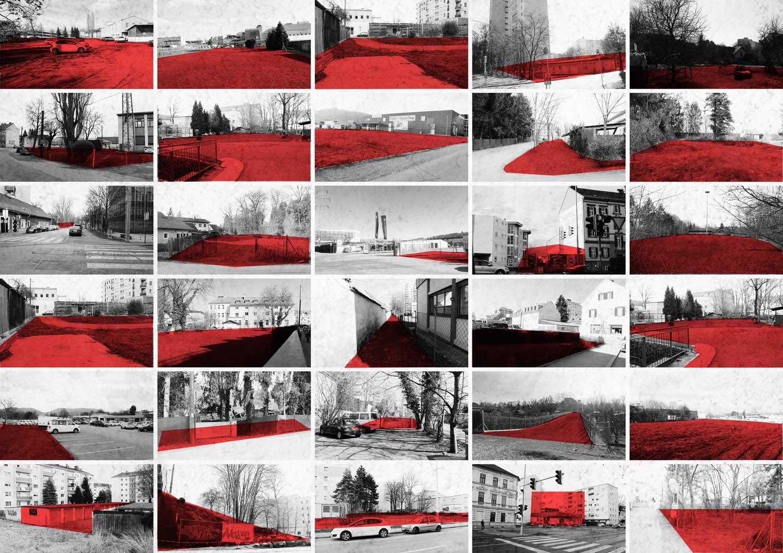 30 Fotos mit Grundstücken die rot makiert sind.