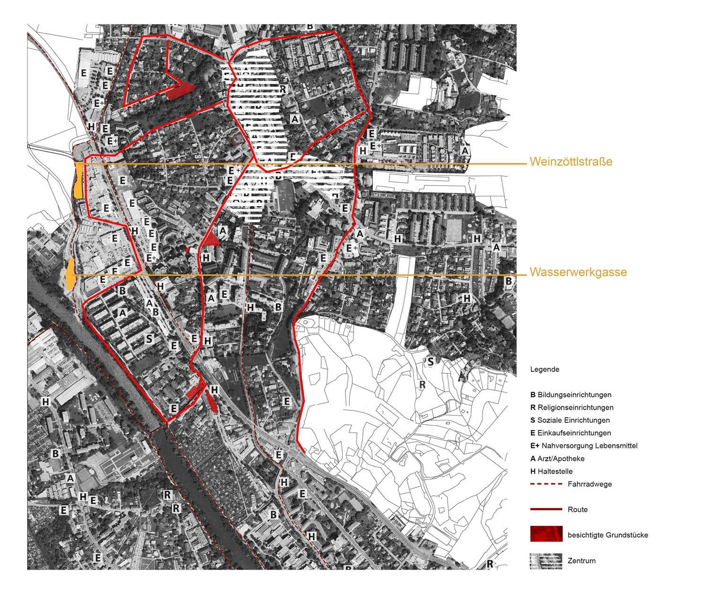 Plan mit Route und Grundstücksauswahl durch Andritz