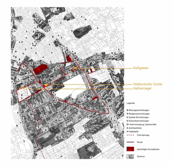 Plan mit Route und Grundstücksauswahl durch Jakomini, St. Leonhard und Waltendorf