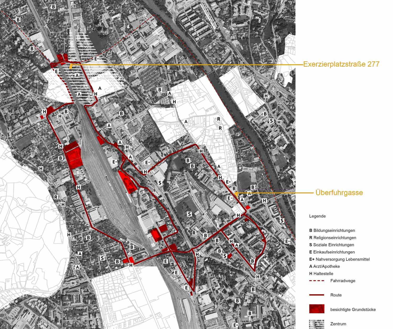 Plan mit Route und Grundstücksauswahl durch Lend und Gösting