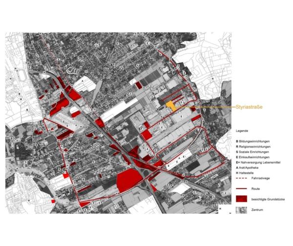 Plan mit Route und Grundstücksauswahl durch Liebenau