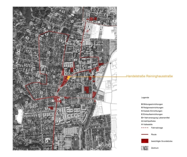 Plan mit Route und Grundstücksauswahl durch Wetzelsdorf