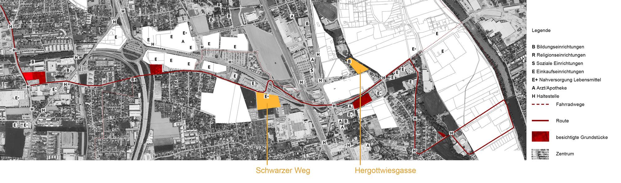 Plan mit Route und Grundstücksauswahl durch Puntigam und Strassgang