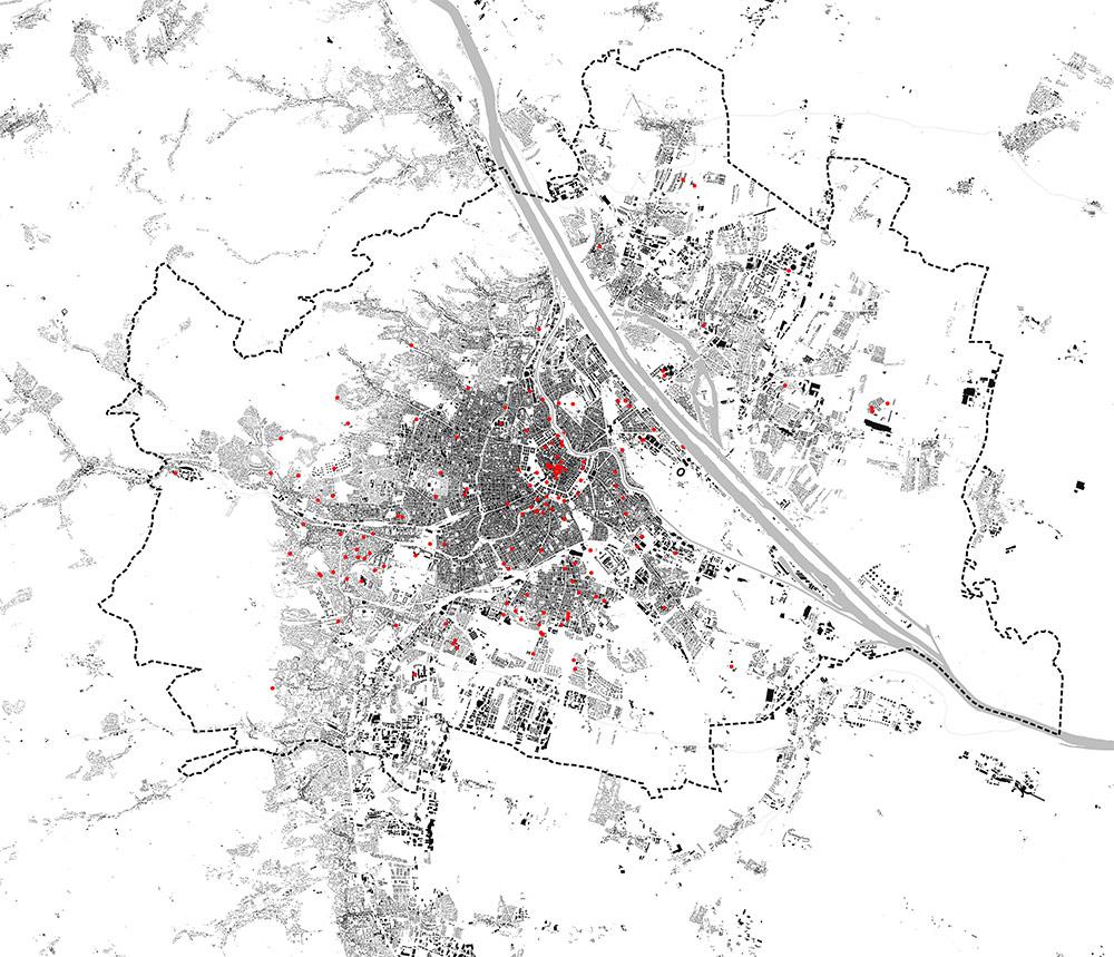 Plan von Wien mit Markierungen der Besichtigten Orte